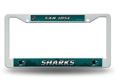 San Jose Sharks White Plastic License Plate Frame NEW Free Shipping!
