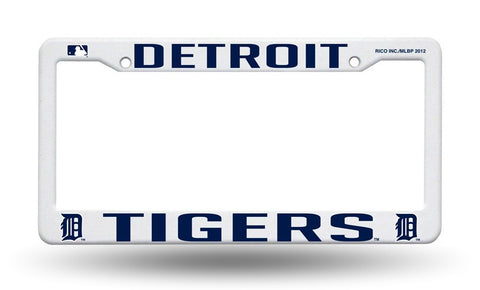Detroit Tigers White Plastic License Plate Frame NEW Free Shipping!