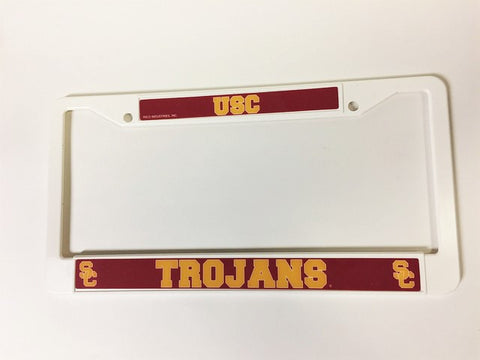 USC Trojans White Plastic License Plate Frame  3D NCAA NEW! Free Shipping