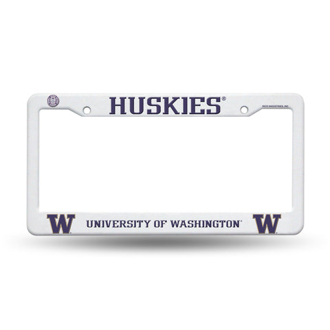 Washington Huskies White Plastic License Plate Frame NCAA NEW! Free Shipping