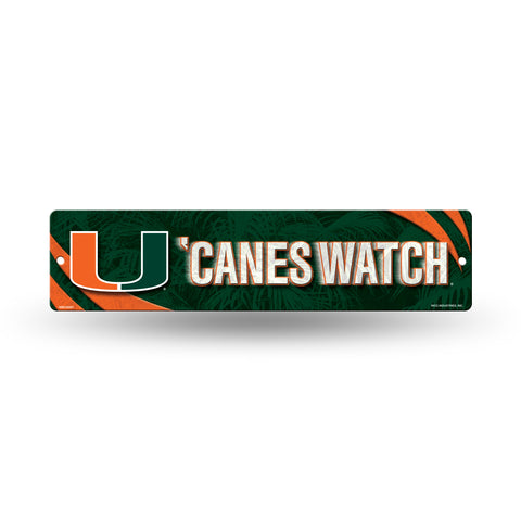 "Miami Hurricanes Street Sign NEW! 4""X16"" ""Canes Watch"" Man Cave NCAA"