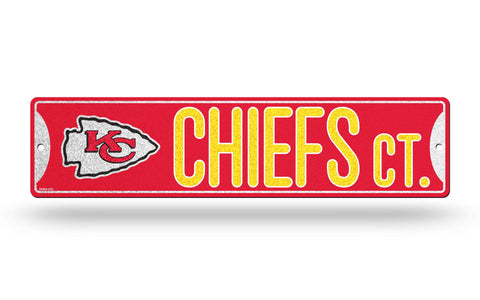 "Kansas City Chiefs Street *Bling* Sign NEW 4""X16"" ""Chiefs Ct."" Man Cave NFL"