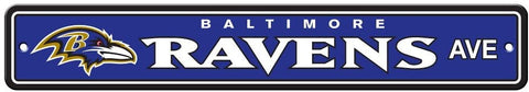 "Baltimore Ravens Street Sign NEW! 4"" X 24"" ""Ravens Ave."" Man Cave NFL"