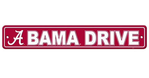 "Alabama Crimson Tide Street Sign NEW! 4""X 24"" ""Bama Drive"" Man Cave"