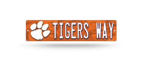"Clemson Tigers Street Sign NEW! 4""X16"" ""Tigers Way"" Man Cave NCAA"