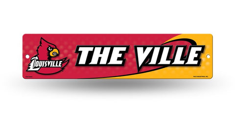 "Louisville Cardinals Street Sign NEW! 4""X16"" ""The Ville"" Man Cave NCAA"