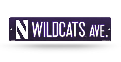 "Northwestern Wildcats Street Sign NEW! 4""X16"" ""Wildcats Ave."" Man Cave NCAA"