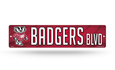 "Wisconsin Badgers Street Sign NEW! 4""X16"" ""Badgers Blvd."" Man Cave NCAA"