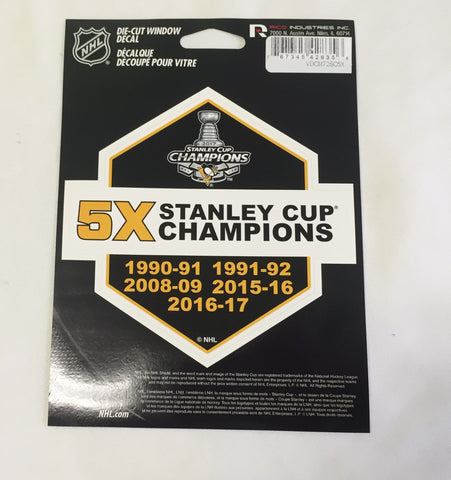 Pittsburgh Penguins 5X Stanley Cup Champions Die Cut Decal NEW 5 X 5 Window or Car!!! Laptop
