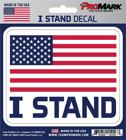 "United States Flag ""I Stand"" 4"" x 4"" Die-Cut Decal Window, Car or Laptop! Protest"