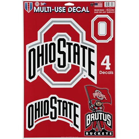 Ohio State Buckeyes Set of 4 Decals Stickers Reusable Multi-Use