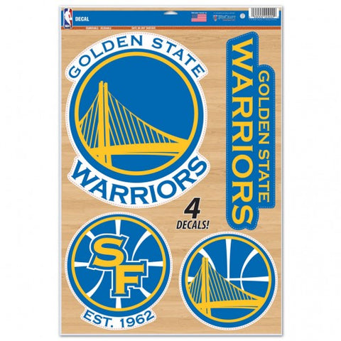 Golden State Warriors Set of 4 Decals Stickers Reusable Multi-Use