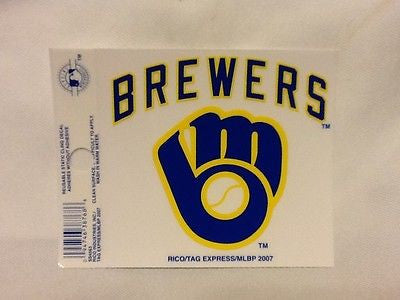Milwaukee Brewers Retro Logo Static Cling Sticker NEW! Window or Car!