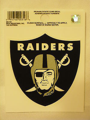 Oakland Raiders Logo Static Cling Sticker NEW!! Window or Car!