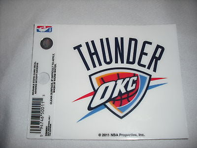 Oklahoma City Thunder Logo Static Cling Sticker NEW!! Window or Car! NBA Durant