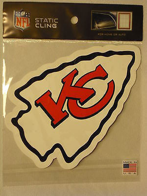 Kansas City Chiefs Die Cut Static Cling Decal Reusable 4 X 6 NEW! Car Window