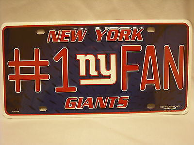New York Giants #1 Fan Aluminum License Plate NEW!!