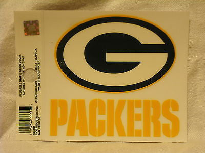 Green Bay Packers Logo Static Cling Sticker NEW!! Window or Car! Aaron Rodgers