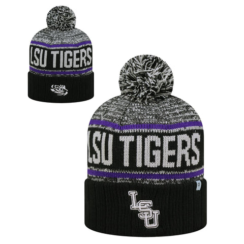 LSU Tigers Knit Pom Hat Beanie NEW w/ tags TOW Black