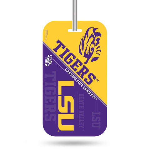 LSU Tigers Logo Luggage Tag Crystal View NEW!! Free Ship Suitcase ID