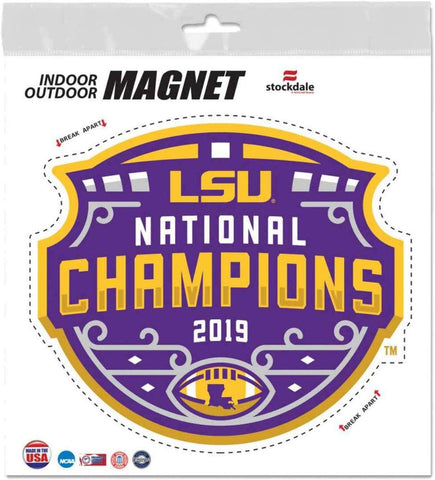 LSU Tigers 2019 National Champions Magnet 5x4 Inches Free Shipping Dome Logo
