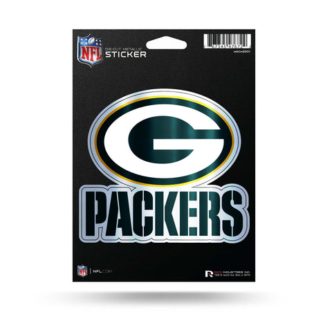 Green Bay Packers Metallic Die Cut Decal NEW 5 X 5 Window Car or Laptop!