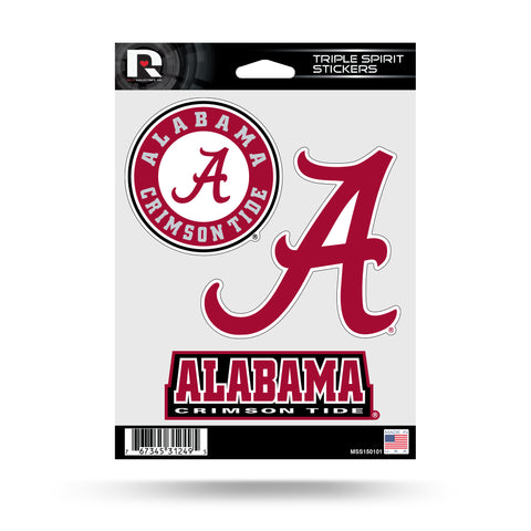 Alabama Crimson Tide Set of 3 Decals Stickers Triple Spirit Die Cut