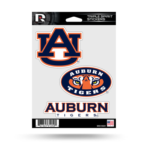 Auburn Tigers Set of 3 Decals Stickers Triple Spirit Die Cut