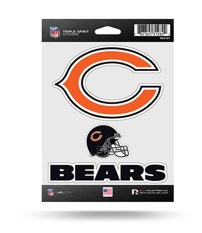 Chicago Bears Set of 3 Decals Stickers Triple Spirit Die Cut