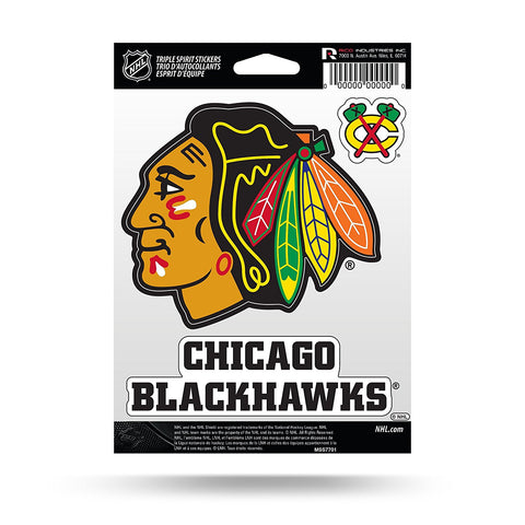 Chicago Blackhawks Set of 3 Decals Stickers Triple Spirit Die Cut