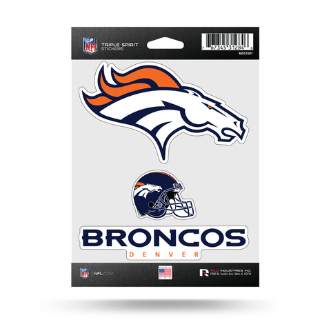 Denver Broncos Set of 3 Decals Stickers Triple Spirit Die Cut
