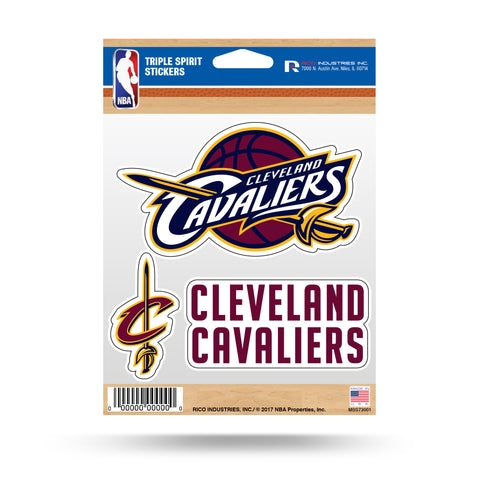 Cleveland Cavaliers Set of 3 Decals Stickers Triple Spirit Die Cut