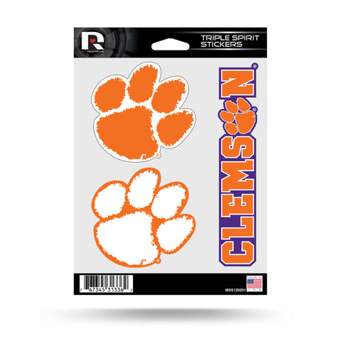Clemson Tigers Set of 3 Decals Stickers Triple Spirit Die Cut
