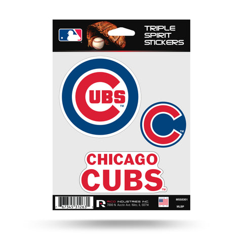 Chicago Cubs Set of 3 Decals Stickers Triple Spirit Die Cut