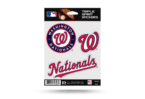 Washington Nationals Set of 3 Decals Stickers Triple Spirit Die Cut