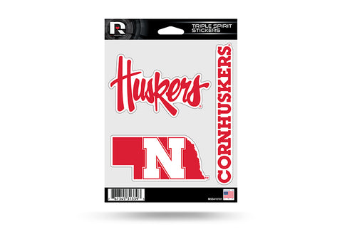 Nebraska Huskers Set of 3 Decals Stickers Triple Spirit Die Cut
