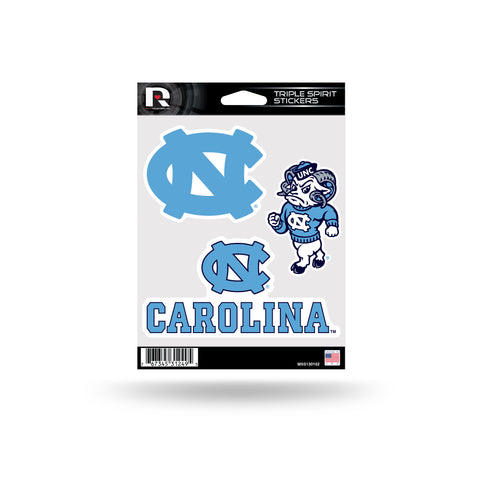 North Carolina Tar Heels Set of 3 Decals Stickers 2x3 Inches Die Cut