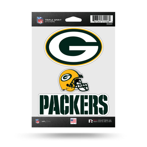 Green Bay Packers Set of 3 Decals Stickers Triple Spirit Die Cut