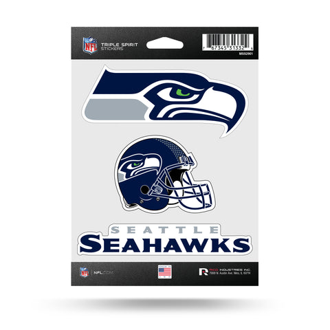 Seattle Seahawks Set of 3 Decals Stickers Triple Spirit Die Cut