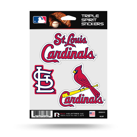 St. Louis Cardinals Set of 3 Decals Stickers Triple Spirit Die Cut