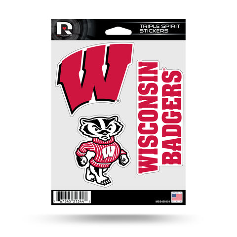 Wisconsin Badgers Set of 3 Decals Stickers Triple Spirit Die Cut