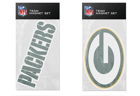 Green Bay Packers Magnet Set 2 piece Logo Wordmark NEW NFL Free Shipping!