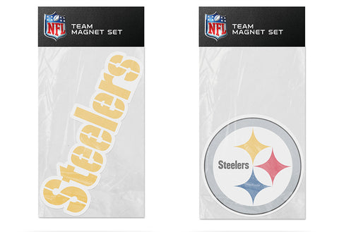 Pittsburgh Steelers Magnet Set 2 piece Logo Wordmark NEW NFL Free Shipping!
