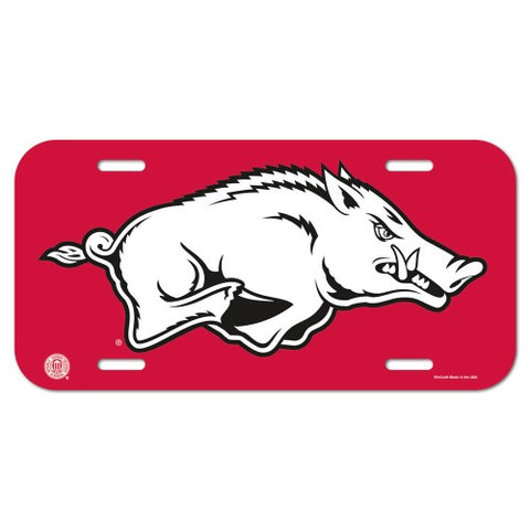 Arkansas Razorbacks Logo Plastic License Plate NEW!! Free Shipping