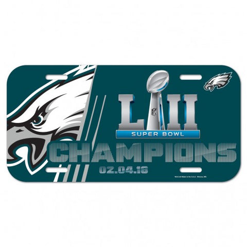 Philadelphia Eagles Super Bowl 52 Champions Plastic License Plate NEW!! Free Shipping