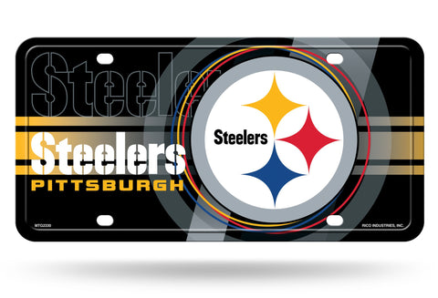 "Pittsburgh Steelers Logo ""Circle"" Black Aluminum License Plate NEW!!"