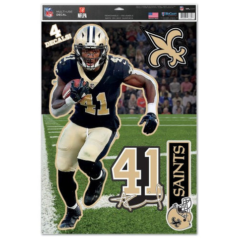 Alvin Kamara New Orleans Saints Set of 4 Die Cut Decals Stickers Reusable Multi-Use