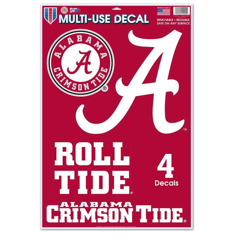 Alabama Crimson Tide Set of 4 Decals Stickers Reusable Multi-Use