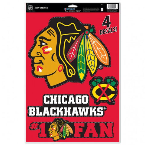 Chicago Blackhawks Set of 4 Decals Stickers Reusable Multi-Use