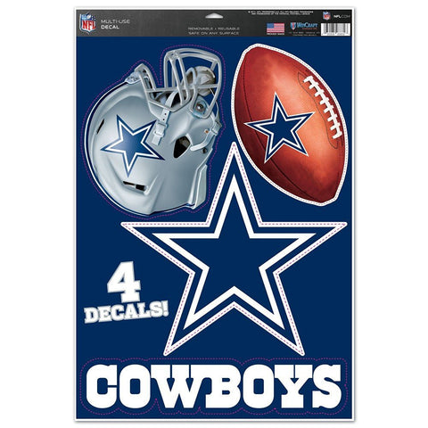 Dallas Cowboys Set of 4 Decals Stickers Reusable Multi-Use